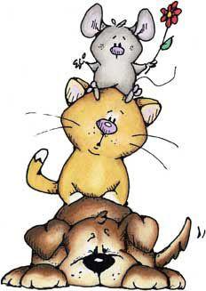 Totem - Cachorrinho, Gatinho e Ratinho com Flor