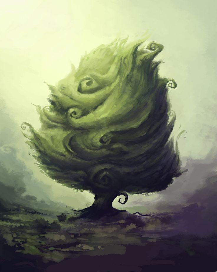 "The ""Baum"" Tree WIP Concept Art  By Dom Littler (A Fox Wot I Drew)   #Baum #Gamedev #Indie Game #Video Games #Art #Illustration #Design #Trees #Concept art"
