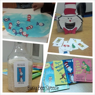 Activities to work on speech and language with cat in the hat!  So cute!