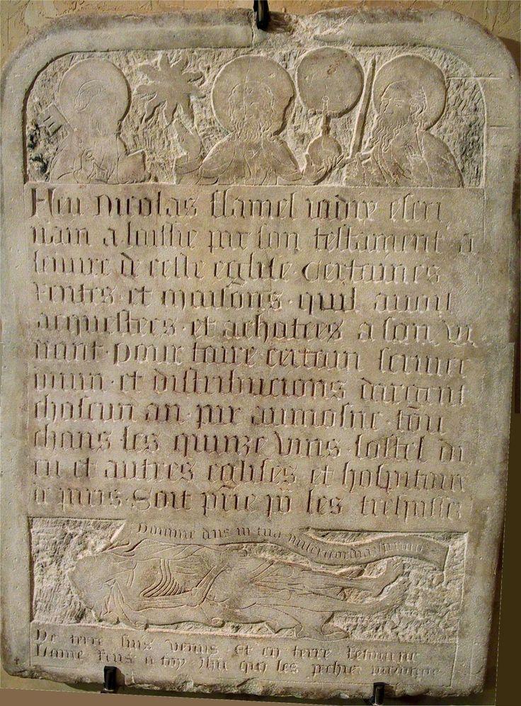 Pierre tombale de Nicolas Flamel, conservée au musée de Cluny, à Paris