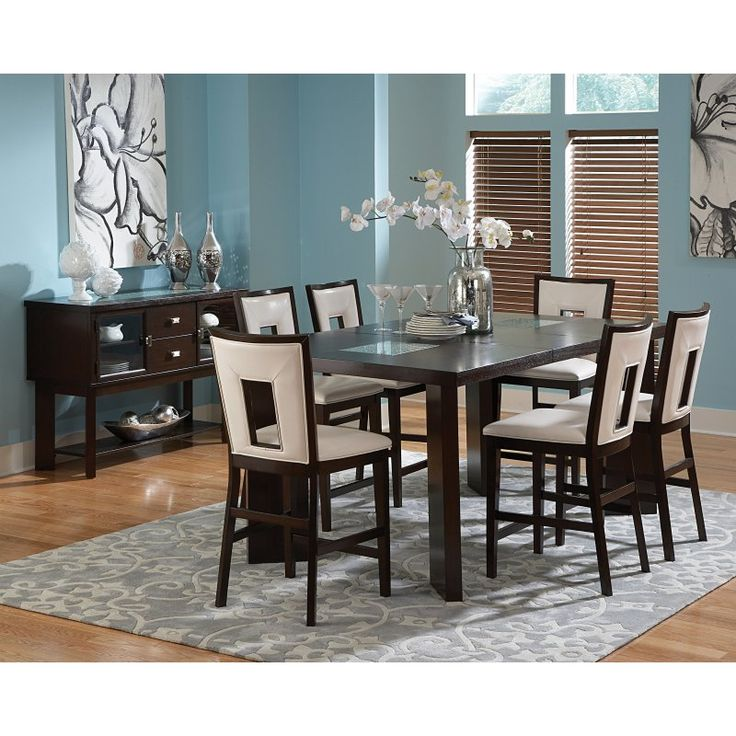 Shiraz Six Piece Triangle Table Dining Set 6 person height pub
