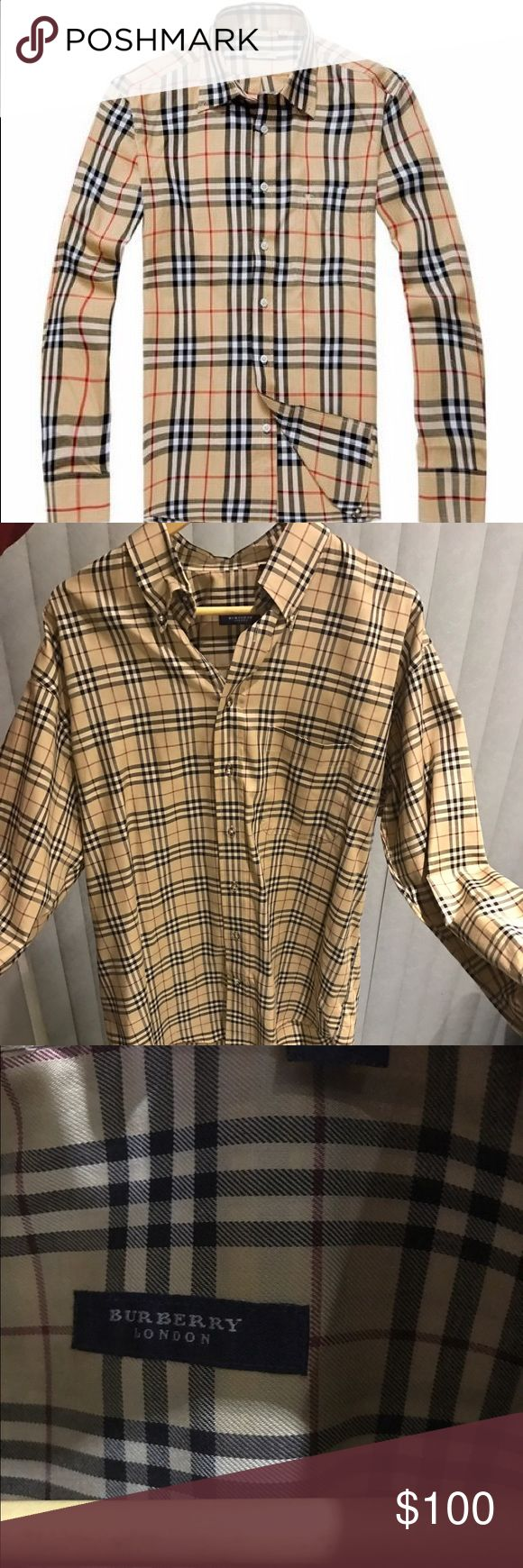 Authentic Burberry Men's dress shirt Worn only once. Size Large . Perfect condition . Authentic Burberry London for Men. Signature Burberry plaid Burberry Shirts Dress Shirts