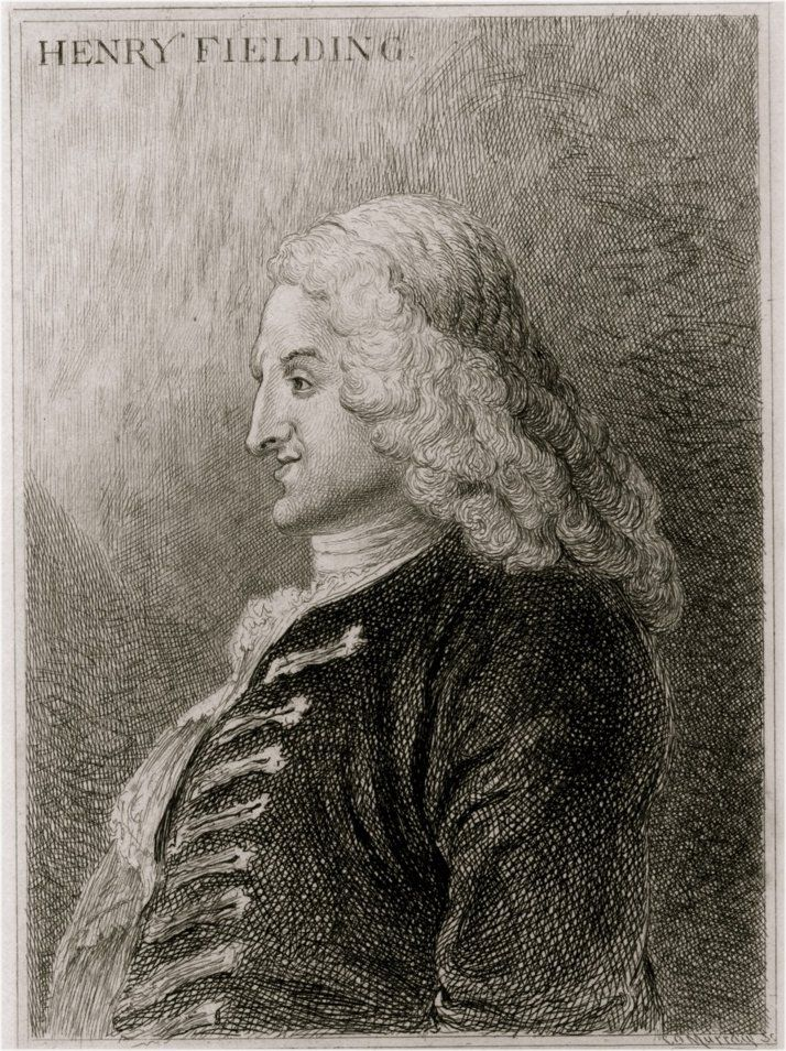 Henry Fielding (c 1743) etching from Jonathan Wild the Great ~ Wikipedia