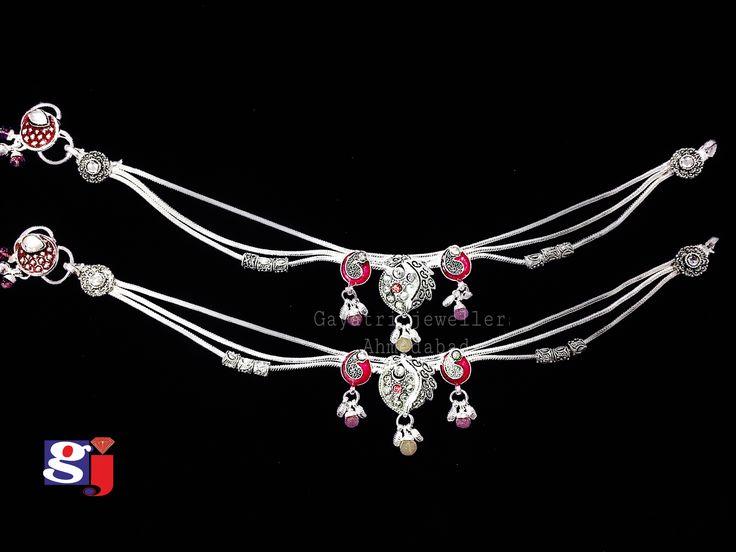 Fancy silver anklet , single brooch style , New Bombay Payal design by #gj #silver