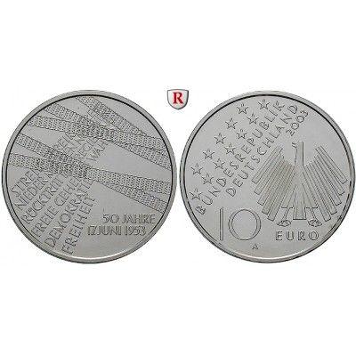 Bundesrepublik Deutschland, 10 Euro 2003, Volksaufstand 17. Juni 1953, A, PP, J. 500: 10 Euro 2003 A. Volksaufstand 17. Juni 1953.… #coins