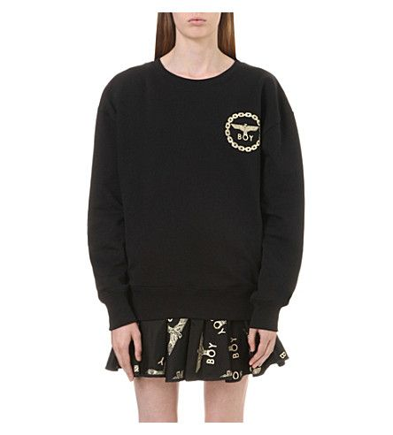 BOY LONDON Metallic eagle logo cotton-jersey sweatshirt. #boylondon #cloth #tops