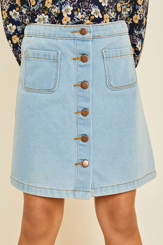 759a36d596 fashion, kids style, fashion for kids, kids lifestyle, kids clothing, kids  ootd, tween style, girls fashion, tween ootd, tween, denim skirt, button-up  skirt ...
