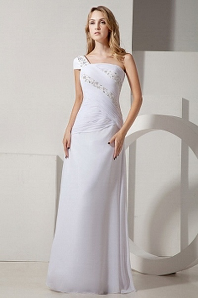 Elegant One-shoulder A-Line Prom Gowns wr1453 - http://www.weddingrobe.co.uk/elegant-one-shoulder-a-line-prom-gowns-wr1453.html - NECKLINE: One-shoulder. FABRIC: Chiffon. SLEEVE: Sleeveless. COLOR: White. SILHOUETTE: A-Line. - 155.59