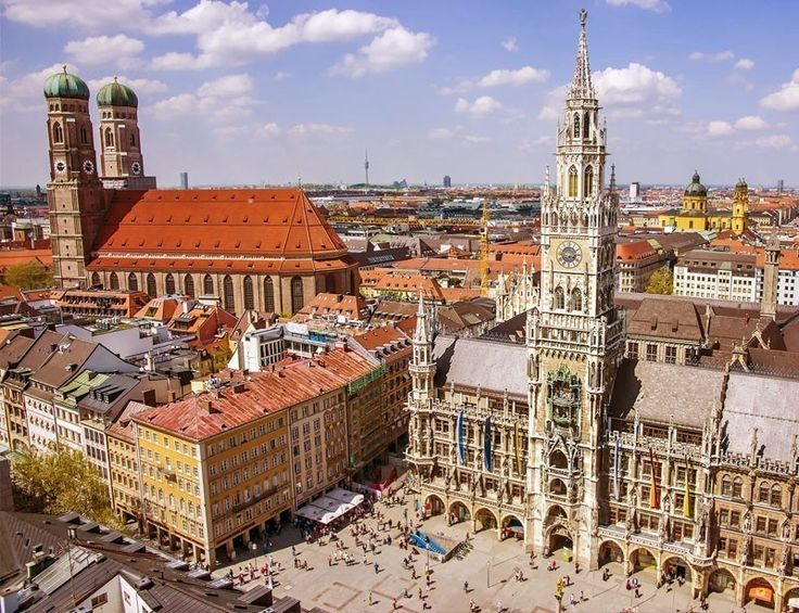 Munich city center skyline view to Marienplatz (main square) Frauenkirche and New City hall | TOP 10 Best Places to Visit in Germany