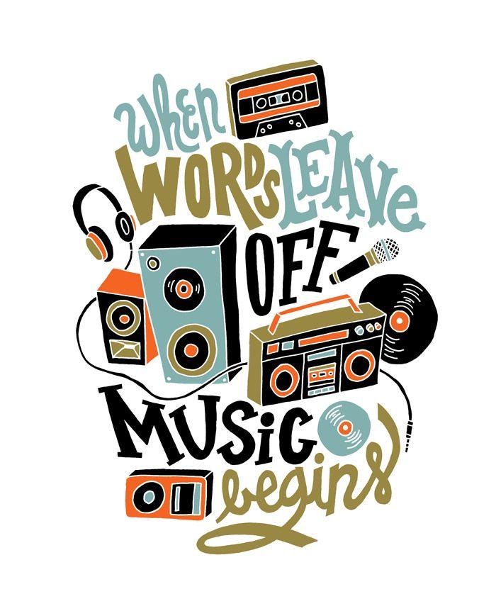 3/5: Music Above Words by Jay Roeder, freelance illustration, hand lettering & design