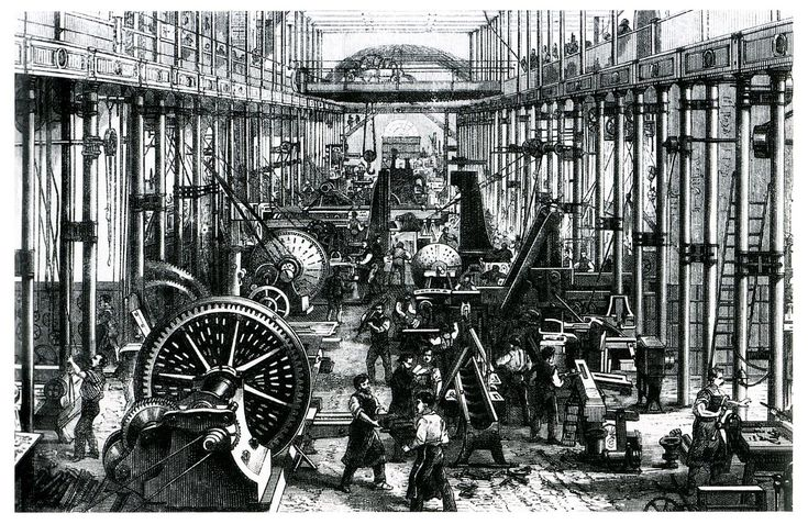 This image shows the machine works of Richard Hartmann in Chemnitz. Hartmann was one of the most successful entrepreneurs and largest employers in the Kingdom of Saxony.  [termo de pesquisa: imagens de cidade com fábricas de meados do século XIX]