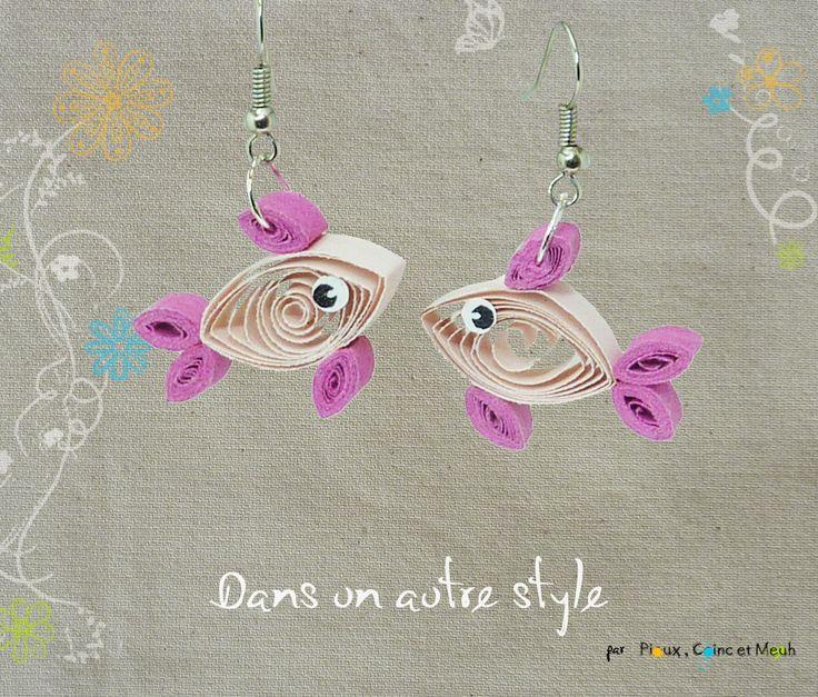 Quilling, paperolles, poissons roses et violets - boucle d'oreille : Boucles d'oreille par dans-un-autre-style
