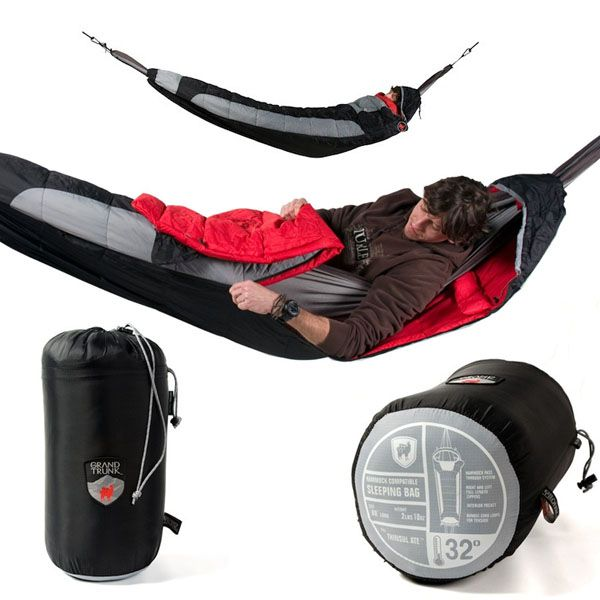 Hammock Compatible Sleeping Bag!  I mean, a sleeping bag that fits on a hammock...  So you can swing and stay warm! #Camping #Outdoors #Hammock