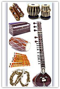 Indian Musical Instruments Including The Harmonium Tabla Sitar Dholak Etc