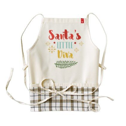Funny Santa's Little Diva Christmas   HEART Apron - home gifts ideas decor special unique custom individual customized individualized