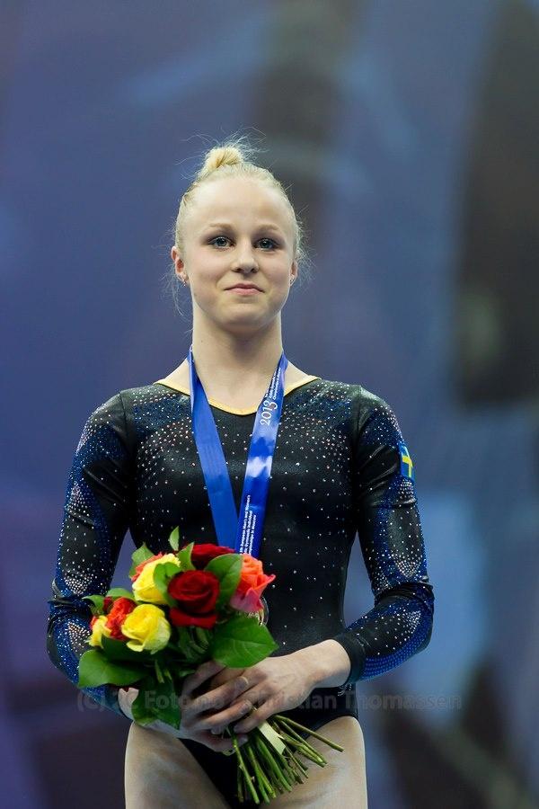 Jonna Adlerteg, Sweden, winning a silver medal during  the uneven bar final, European Championship Artistic Gymnastics, in Moscow, Russia 2013. Photo by: Christian Thomassen / 2CFoto.no.  Jag grät när hon fick sin poäng, vilken fantastisk tävling av både Jonna och Idi! :D