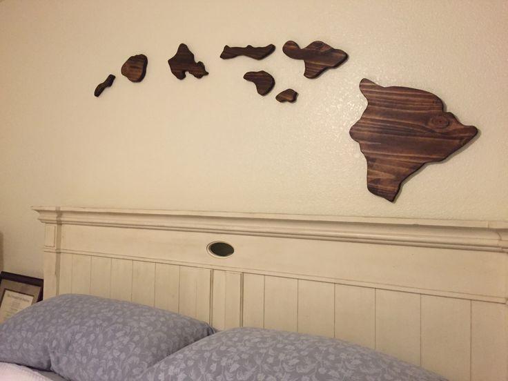 Hawaiian Island Chain Wood Carving Wall Set Large 6 Feet