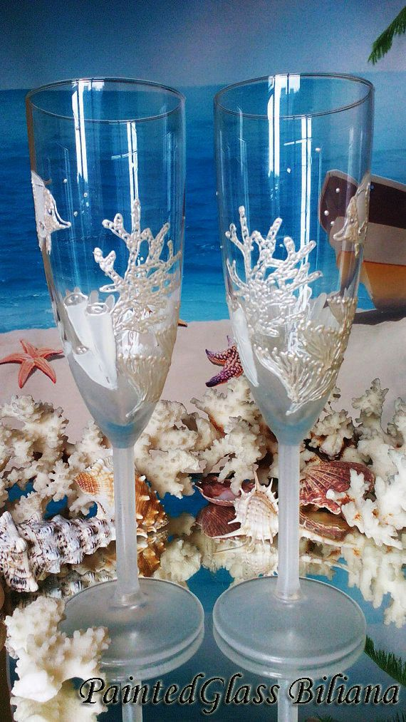 Coral reef Wedding Glasses Champagne Flutes by PaintedGlassBiliana