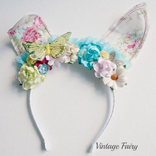 jemima bunny ears White floral(pre order see description)