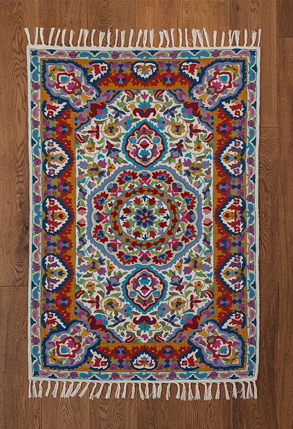 beautiful mandala rug a very floral rug and great as a 3x5 area rug - 3x5 Rugs