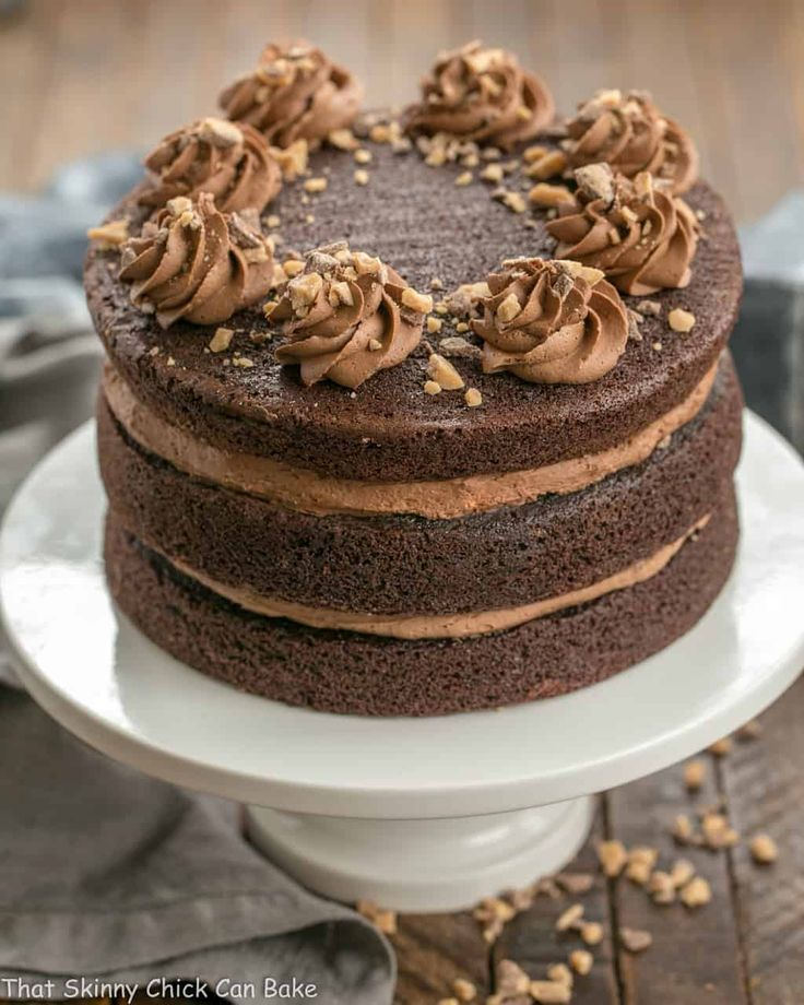 This Triple Layer Chocolate Toffee Cake has three scrumptious layers of chocolate cake sandwich a rich fudgy buttercream frosting with a bonus of toffee bits to add a sweet crunch.