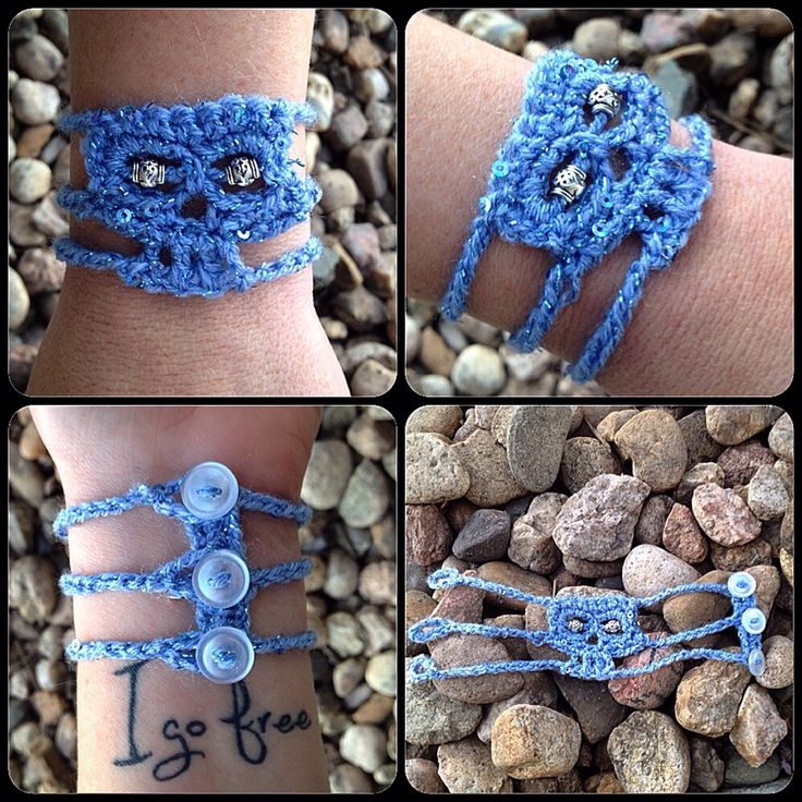Crocheted skull bracelet