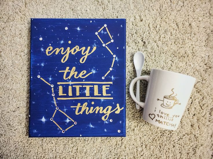 "So proud of my crafting this big+little season - big and little dippers canvas and ""I love you this MATCHA"" Sharpie mug because my little and I both love matcha!"