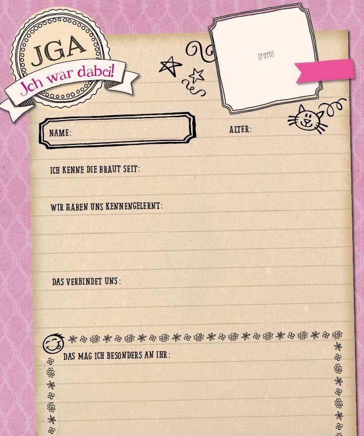 Fragebogen zum Junggesellinnenabschied (rosa)
