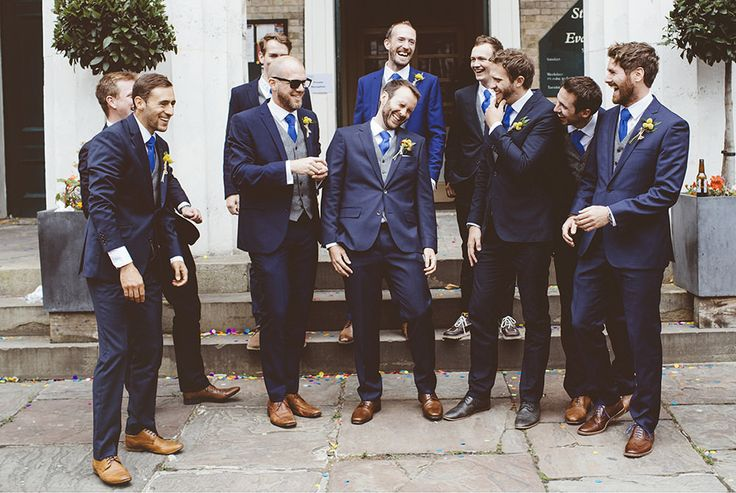 Groomsmen in Navy suits   Jenny Packham Tuberose Wedding Dress   Garden Museum London   Wooden Trestle Tables   Rustic Styling   Bright Flowers   A Thing Like That Photography   http://www.rockmywedding.co.uk/sarah-paul/