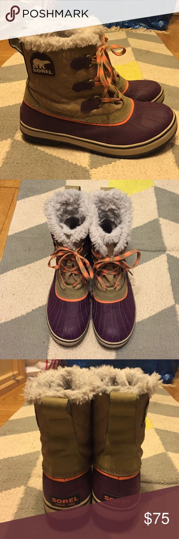 Sorel winter boots Excellent condition. Lined waterproof boots. Made for cold, snow and ice, cute purple soles with orange accents. Sorel Shoes Winter & Rain Boots