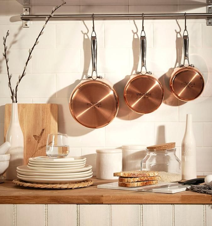Copper Pans Against The Country Charm Of Wooden Surfaces, Make The Rustic  Romance, AW16. Minimalist KitchenKitchen SuppliesCountry ...