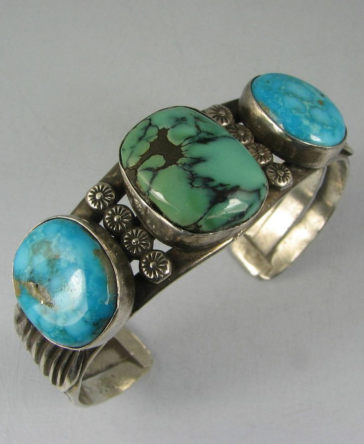 Vntg Hvy Navajo 3 Vibrant Turquoise Bracelet w/Stampwork