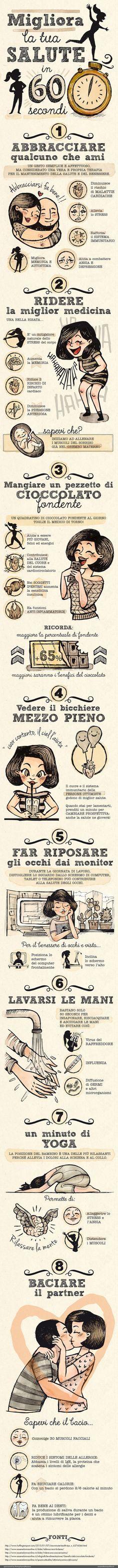 MIGLIORA LA TUA SALUTE IN 60 SECONDI -esseredonnaonline.it- illustrated by Alice Kle Borghi kleland.com
