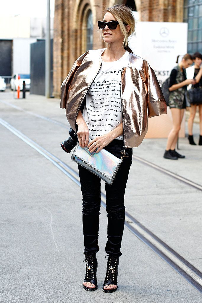 Why not layer up with one of Spring's biggest trends? This metallic jacket added warmth in the coolest way possible - Spring Street Style 2013