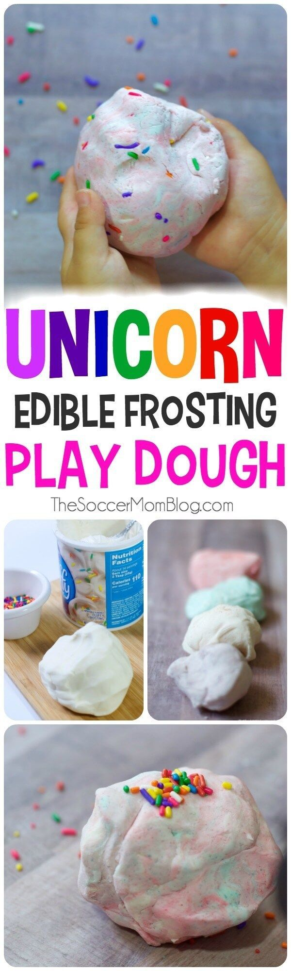 This colorful, scented, edible, all-around amazing Unicorn Poop Play Dough recipe is a sensory play experience that your kids will love!