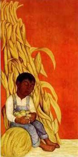 nino indigena con tallos de maiz