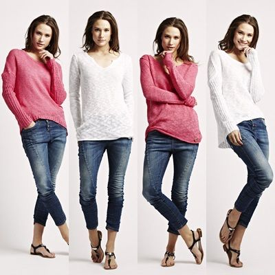 Raw Seam & curved Hem Sweater from Florence Design , choose between hot pink and orchid white! :)