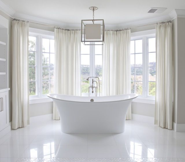 811 best bathrooms images on pinterest bathrooms for Master bathroom curtains