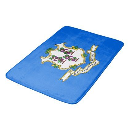 Large bath mat with flag of Connecticut USA - cool gift idea unique present special diy