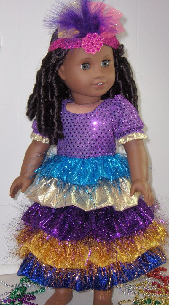 Mardi Gras or Carnival Dress for 18 inch by LetsPretenDollFashon, $35.99