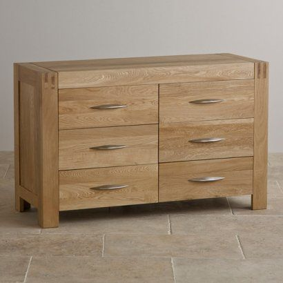 Alto Natural Solid Oak 6 Drawer Wide Chest