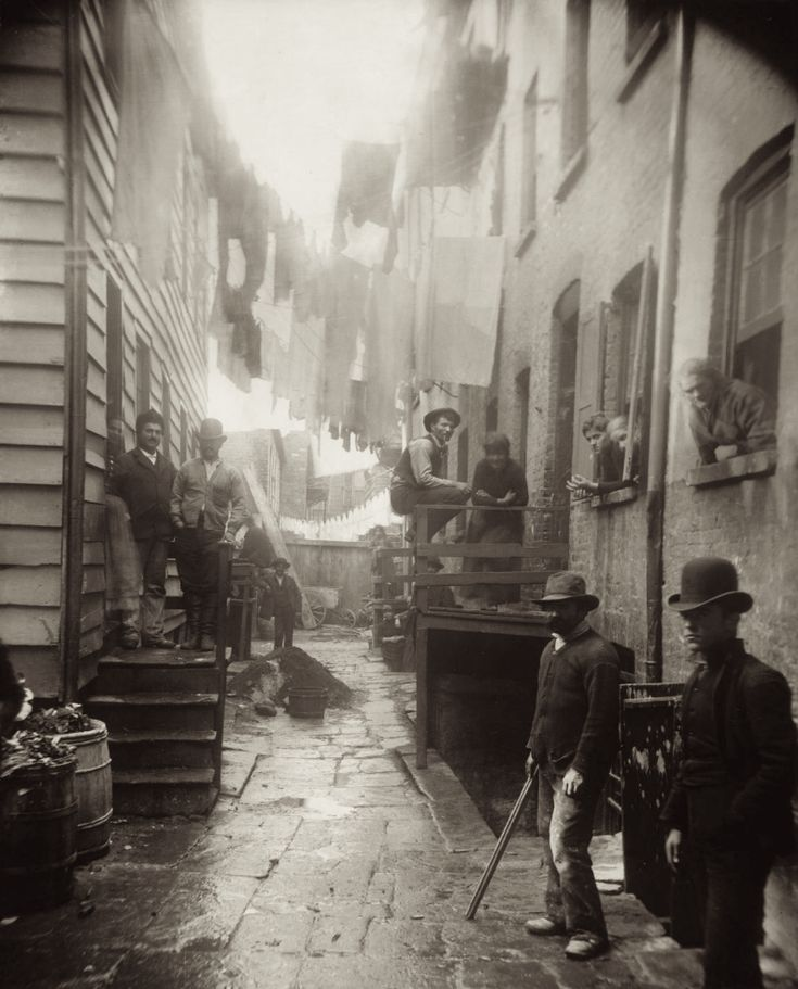 """Bandit's Roost (1888), by Jacob Riis, from """"How the Other Half Lives."""" Bandit's Roost, at 59½ Mulberry Street (Mulberry Bend), was the most crime-ridden, dangerous part of all New York City."""
