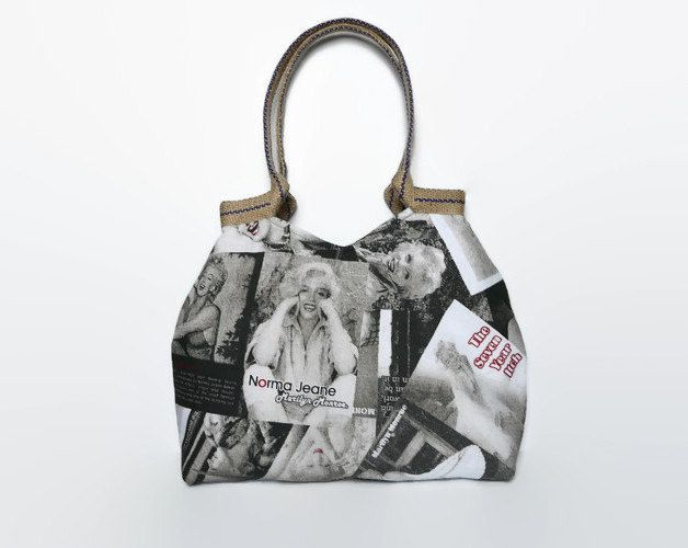 Trendy tote bag, striking shoulder bag, striking tote bag, fashionable handbag, Marilyn Monroe print, shoulder bag, large handbag - pinned by pin4etsy.com