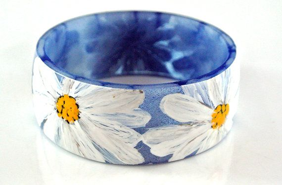 Hand Painted Daisy Resin Bangle SOLD