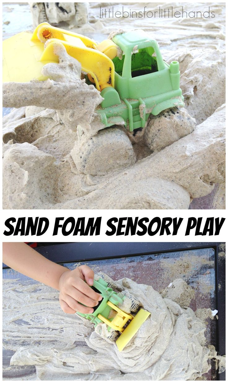 Sand Foam Sensory Play for tactile sensory play. Quick and easy 2 ingredient recipe for messy sensory play.