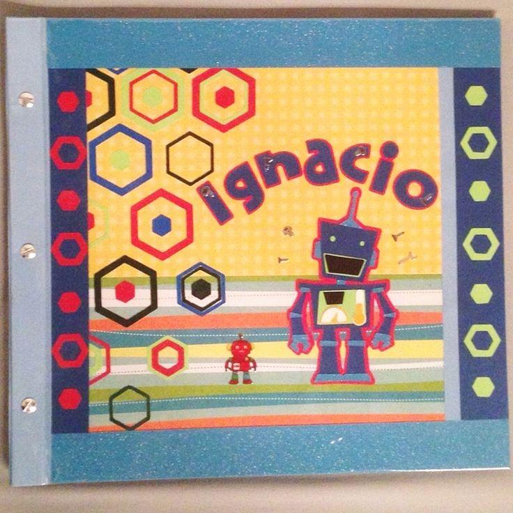 Álbum para Scrapbook, con tornillos, personalizado... Tema de Robot.