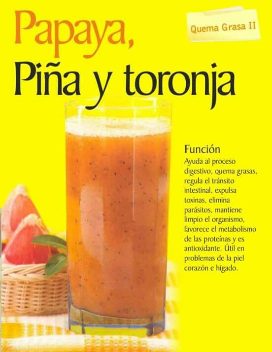 Papaya, Piña y Toronja. Quema grasa