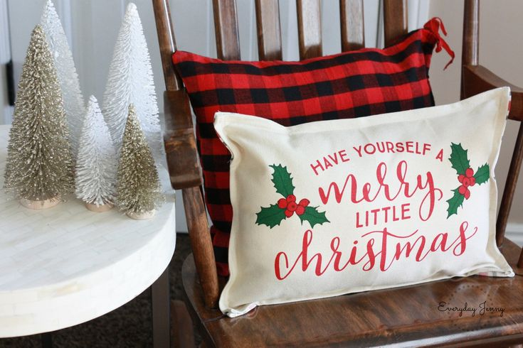 Finished Christmas pillow made from placemats from the Target Dollar Spot