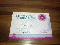 Certificate of achievement on completion of the Acrylic Nail course. A good start for anyone wishing to work in the nail industry or open your own nail salon one day.