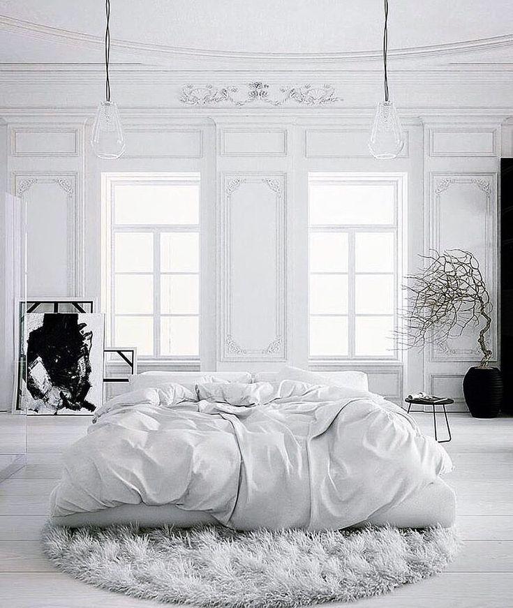 Parisian Apartment soft white bedroom with black